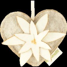 Heart with edelweiss diffuser Vanilla Bourbon 100% wool