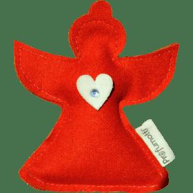 Profumatore Angioletto rosso con Cuoricino & Cristallo con lana 100%