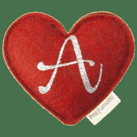 Profumatore cuore con glitter lettera A