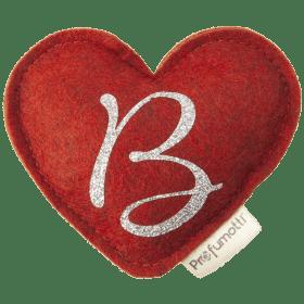 Profumatore cuore con glitter lettera B