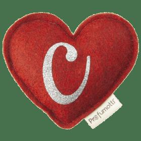 Profumatore cuore con glitter lettera C