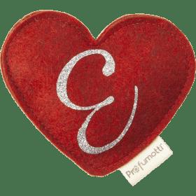 Profumatore cuore con glitter lettera E