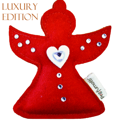 Profumatore Angelo rosso con Cuoricino & Cristalli in lana 100%