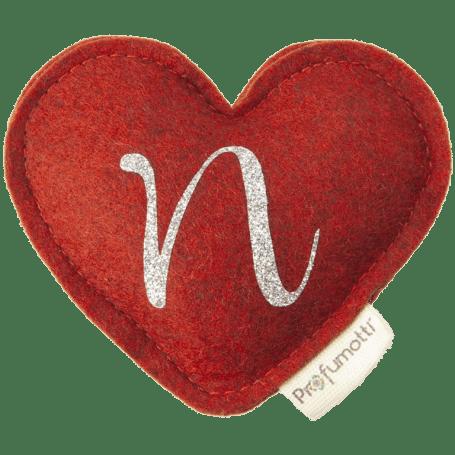 Profumatore cuore con glitter lettera N