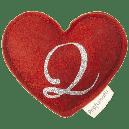 Profumatore cuore con glitter lettera Q