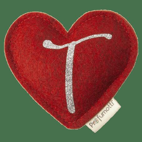 Profumatore cuore con glitter lettera T