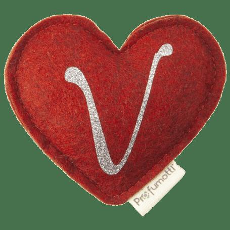 Heart diffuser with glitter letter V