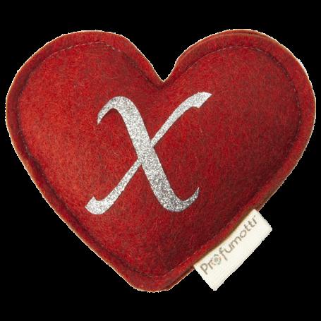 Profumatore cuore con glitter lettera X