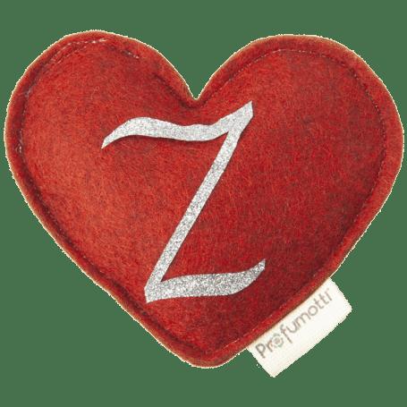 Profumatore cuore con glitter lettera Z