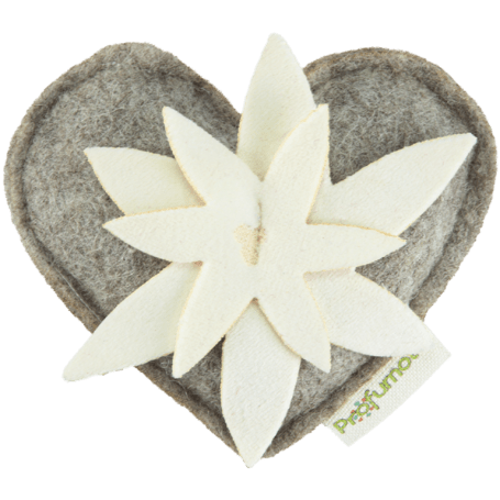 Heart with edelweiss diffuser Swiss Pinewood 100% wool