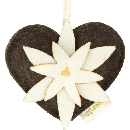 Heart with edelweiss diffuser almond & jasmine 100% wool